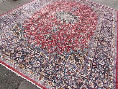 Vintage Hand Made Traditional Oriental Wool Red Blue Large Carpet 379x290cm