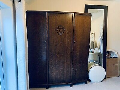 Antique Armoire - Solid Wood With Art Deco Carving And Original Locks - 3 Door
