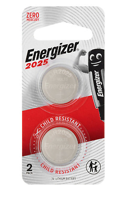 Energizer 2025 - 2 PACK 3V Lithium Coin/Button Cell Batteries  Zero Mercury