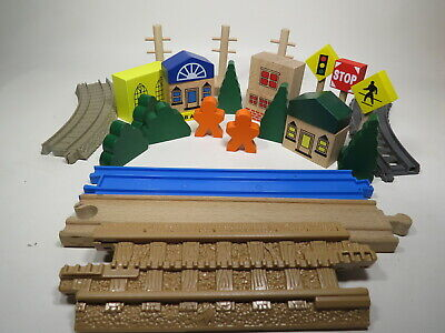 23 Pieces Wood City, Trees, and Accessories for Wooden Train Track Brio Thomas