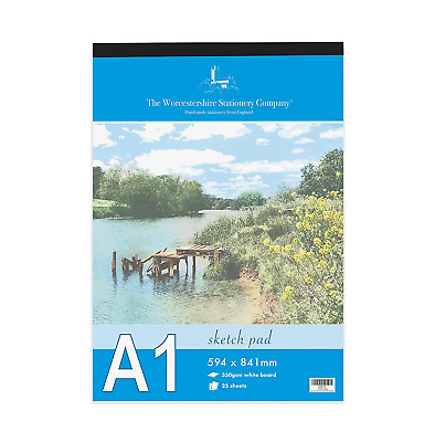 Artists Premium A1 Sketch pad, 25 Sheets 50 Pages of 350gsm Smooth White Card