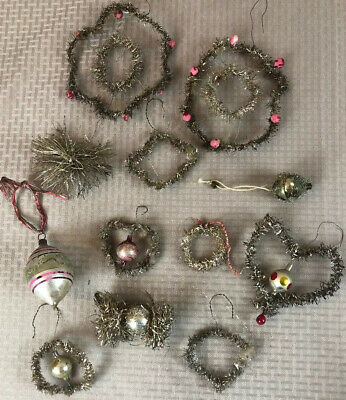 12 Antique German Victorian Tinsel Wire Mercury Glass Christmas Ornaments