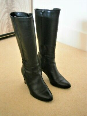 Tamaris Black Leather Boots With Heel Size 40 Uk 6.5