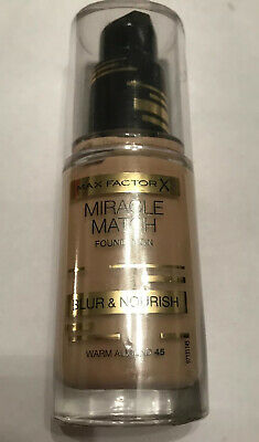 MAX FACTOR MIRACLE MATCH BLUR AND NOURISH FOUNDATION - WARM ALMOND 45- Sealed