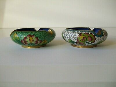 A  Pair of Vintage Chinese Cloisonné Ashtrays