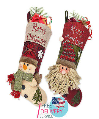 18 in 3D Classic Large Christmas Stockings Santa Snowman Xmas Decoration 2 Pack