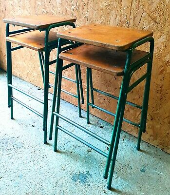 Vintage Science School Stool, Green, Industrial Lab Style, Stacking