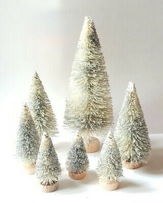 LOT 8 Mini GLITTERY METALLIC SILVER Miniature Sisal Bottle Brush Christmas Trees