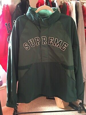 Details about SUPREME SS18 COURT HALF ZIP PULLOVER DARK GREEN SIZE:LARGE IN HAND