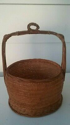 Antique Chinese Wedding Hanging Basket Bamboo Woven Vintage Handle Weave Bin