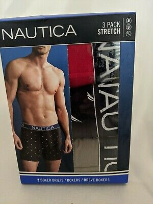 Nautica Men's 3-Pk XL Classic Underwear Cotton Stretch Boxer Brief Red Blue Gray