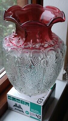 Stunning Antique Ruby/Cranberry Oil Lamp Shade