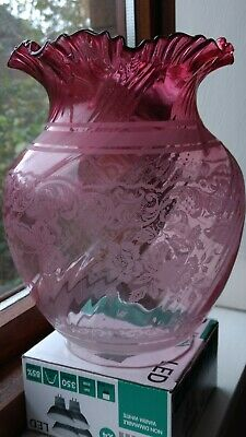 Beautiful Victorian Ruby/Cranberry Etched Tulip+ Oil Lamp Shade