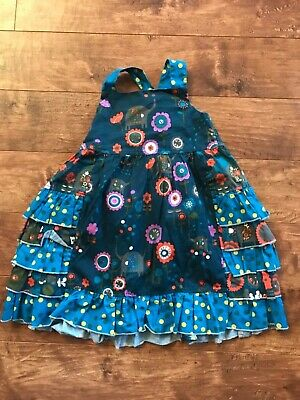 Jelly the Pug Blue/yellow/ orange fall swing Ruffle apron  dress Size 4/5