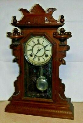 "WALNUT WATERBURY ""HUDSON"" CHIME KITCHEN CLOCK SHELF /MANTEL 8 DAY WORKING c.1880"