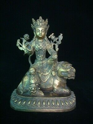 """Rare Old Large Chinese Hand Carving Bronze """"WenShu"""" Buddha with Lion Statue"""