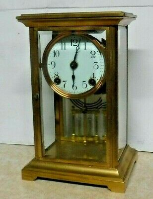 "Antique Ansonia ""Dorval"" 8-Day Chime Clock Crystal Regulator Working New York"