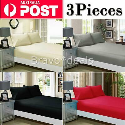 1000TC Ultra SOFT 3Piece FITTED Sheet Set Single/Double/Queen/King Bed (No Flat)
