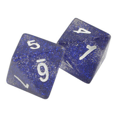 Pack of 2-20 Sided Glitter Polyhedral Blue Dice Organza Bag