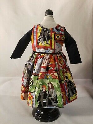 "Fit American Girl Doll  18"" or any 18"" doll Dress,Lined cape Harry Potter  print"