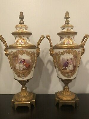 Pair Of Antique Sevres Ormolu Mounted Covered Urns