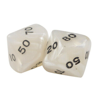 Pack of 2 D20 20 Sided White Rainbow Multicolor Polyhedral Dice Organza Bag