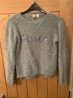 ZARA girls soft fluffy sweater size 11-12 with 'Kisses' in sequins