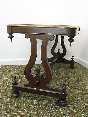 Antique Mahogany Hall Table, Edwardian Lyre end console table. Northants