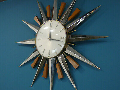 Retro Metamec Starburst Clock, Vintage Sunburst wall clock, iconic 1970s