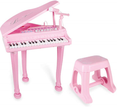 Baoli 37 Key Pink Princess Grand Piano Toy for Kids Girl Children with Stool and