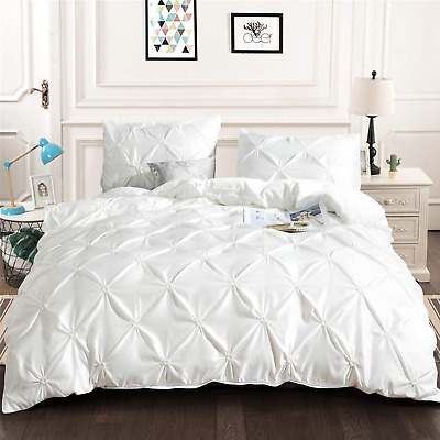 White Pintuck Duvet Cover Set 3 Pieces Pinch Pleat Printed Bedding Duver Cover *