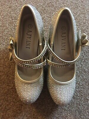 Girls, Gold, Sparkle, Velcro, High Heel, Party, Shoes. Size 1 NEW
