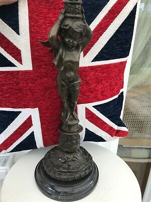 Neoclassic Style French 20th Century Cast Bronze Gilt Cherub Statue Marble Base