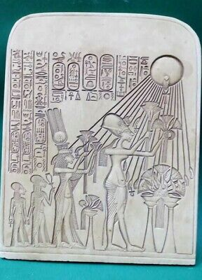 Ancient Egyptian Antique Stela King Akhenaten And Family Worshipping Aten 2630BC