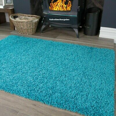 Teal Blue Large & Small Size Thick Plain Soft Shaggy Living Room,Bedroom Rugs