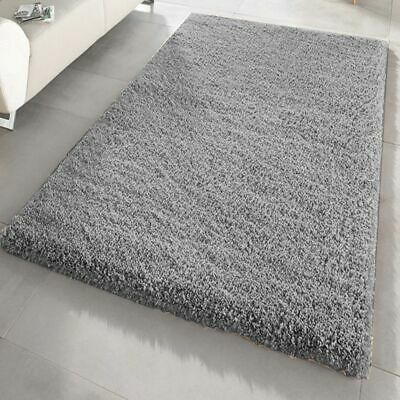 Silver/Grey Large & Small Size Thick Plain Soft Shaggy Living Room,Bedroom Rugs