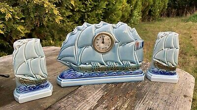 Beautiful Vintage Esdeve Art Deco Ships Clock With Vase Garnitures *