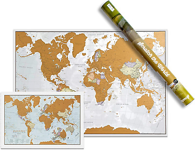 Pack of Two maps - Scratch The World® 84.1 cm w x 59.4 h cm - with Gift Tube + -