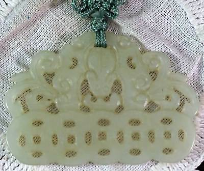 Good Antique Chinese Carved Translucent Jade Pierced Plaque Pendant Cord #2