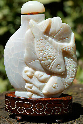 Antique Carved Snuff Bottle Chinese NATURAL OPAL Stone with Stand Fish Fishes