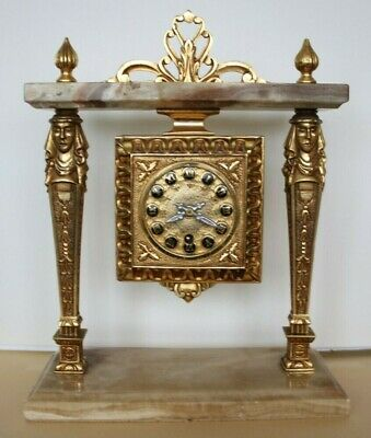 Egyptian Revival, Brass And Marble Mantel Clock, Emes 52 8 Day, Working.