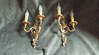 lamp Wall Sconces applied light pair Antique Double Arm bronze antique French