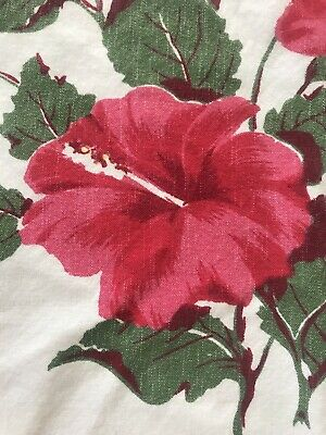 Vintage California Hand Prints Tablecloth Red Hibiscus 60x50 Floral