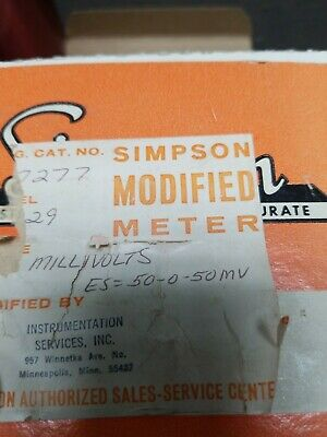 Simpson Electric Panel Meter Gauge Model 50-0- 50 DC MilliVolts