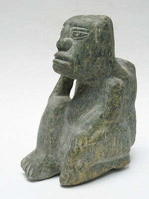 "Massive Pre-Columbian Carved Green Volcanic Stone Shaman Effigy Figural 11"" 17Lb"