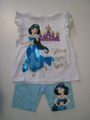F&F Tesco Girls Disney Aladdin Jasmine Shorts & Top Outfit Set - 3-4 Years
