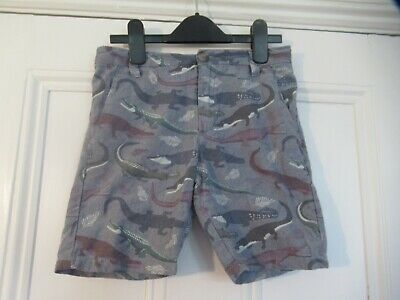 8-9 yrs: Lovely chino shorts: Blue + CROCODILES: NEXT: Good condition