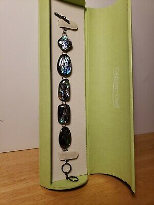 """ColdWater Creek 925 Sterling Silver Abalone Bracelet Adjustable 7"""" to 8"""" & BOX"""
