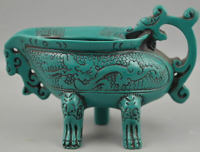 Collect Handwork Old Turquoise Carve Myth Dragon Delicate Noble Ancient Wine Cup