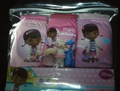 3 Pairs GIRLS New DISNEY DOC McSTUFFINS Pink Purple KNICKERS Briefs 2 - 3 years